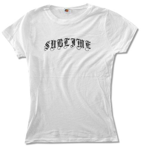 Juniors Sublime Classic Black Logo on White Baby Doll T-Shirt (Large)