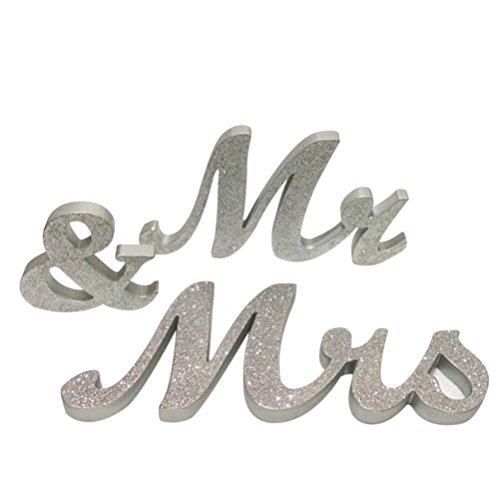 Pixnor Mr Mrs Wooden Letters Wedding Decoration Silver 8 inc