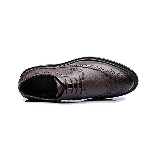 Traspirante amp;baby Sunny 41 color Business Wingtip Lace Upper Decoration Eu Uomo Outsole Up Brogue Da Resistente Leather Scarpe Dimensione Nero Brown All'abrasione Pu Oxfords Zdf1Wd