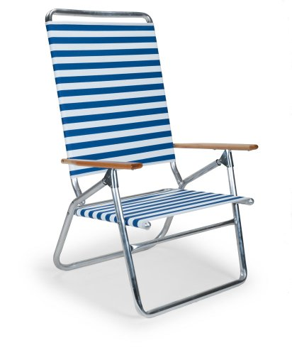 Telescope Casual Light and Easy High Boy Folding Beach Arm Chair, Blue White Stripe (71113601) (Blue Stripe High Chairs)