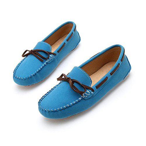 Oriskey Women's Polyurethane Suede Flats Slip On Loafers Driving Moccasins Soft Casual Walking Boat Shoes Blue M92fOFO2