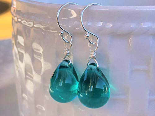 Teal Green Wire Wrapped Smooth Glass Tear Drop Sterling Silver Earrings Gift for Her