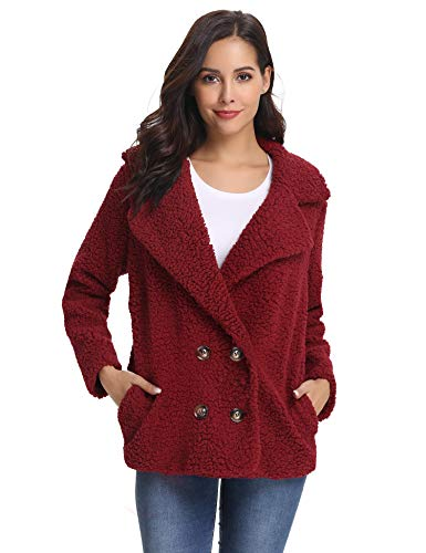 - Abollria Women's Long Sleeve Coat Casual Lapel Fleece Fuzzy Faux Shearling Warm Winter Oversized Outwear Jackets Wine Red