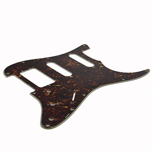 (Dark Brown Tortoise Shell HSS Scratch Plate Guitar Pickguard)