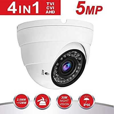 Dome Security Camera HD 4-in-1 CCTV Camera 2.8mm-12mm Varifocal Lens 100ft IR Day/Night Monitoring IP66,Compatible with AHD/CVI/TVI&CVBS DVR from Amtronics