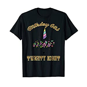 Floral Birthday Girl Caticorn Twenty Eight T Shirt