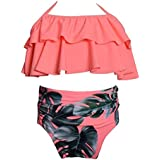 Maylife Girls Swimsuit One Piece High Waist Swimwear Bowknot Flexible Swimwear Age 2-10