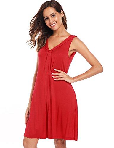 Beyove De Manches En Mousseline De Soie D'été Des Femmes Cocktail Plissée Robe Évasée Swing 01-rouge