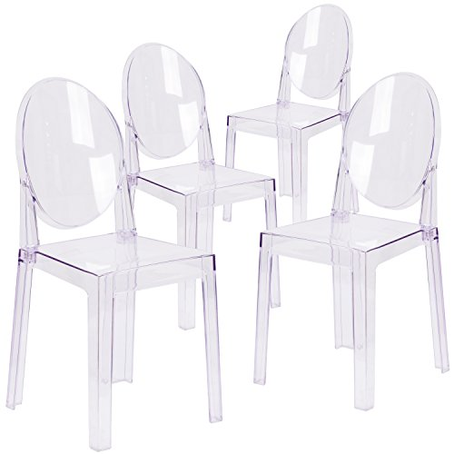 Flash Furniture 4 Pk. Ghost Chair with Oval Back in Transparent Crystal