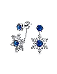 Bling Jewelry .925 Sterling Silver Blue Glass CZ Snowflake Flower Front Back Earrings