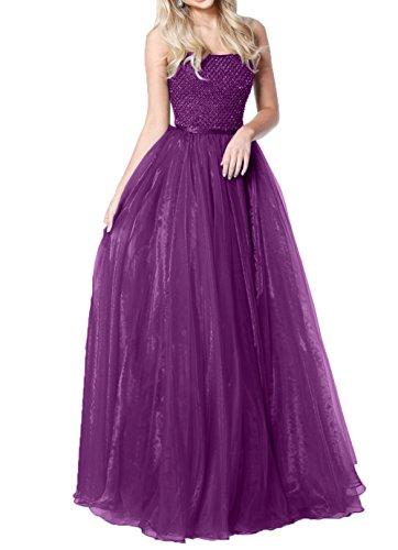 Abendkleider Promkleider Linie Prinzess A Ballkleider Violett Charmant Abschlussballkleider Damen Perlen Abiballkleider Langes tw4z48