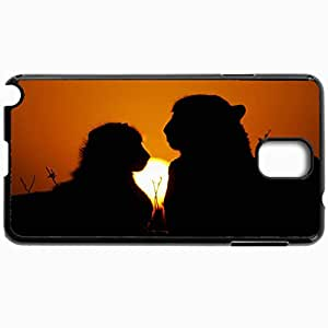 Personalized Protective Hardshell Back Hardcover For Samsung Note 3, High Definition Lion Silhouette Design In Black Case Color