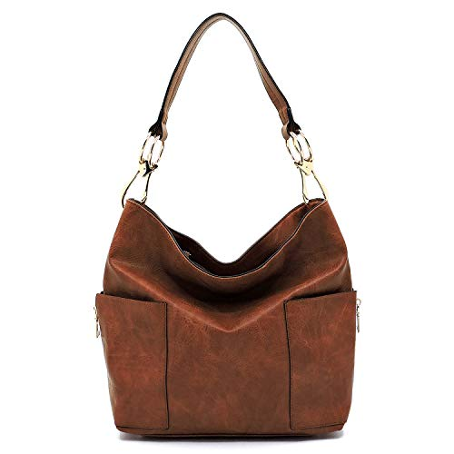 (Americana Bucket Style Hobo Shoulder Bag with Big Snap Hook Hardware and Side Zipper Pocket)