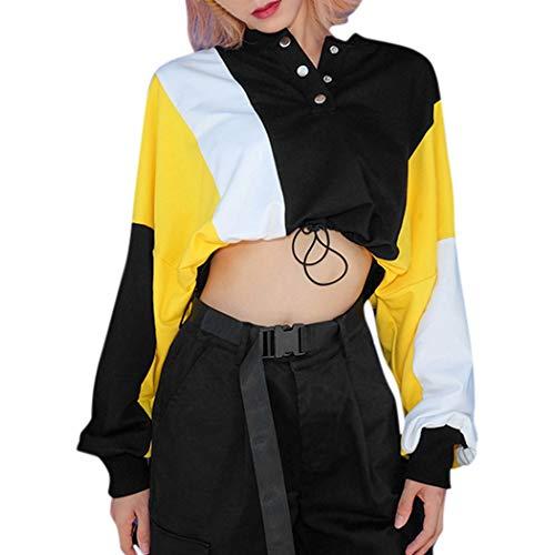 DONTAL Women Lumbar Bellyl V-Neck Patchwork Long Sleeve Button Blouse Tops Sweatshirt Black