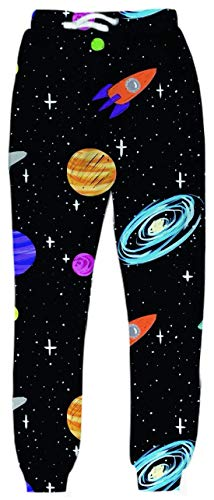 Belovecol Galaxy Sweatpants for Mens Womens 3D Print Pizza Cat Cute Graphic Active Sports Pants Gym Trousers M]()