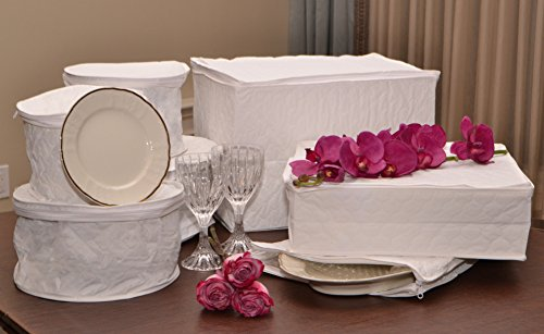 Deluxe Quilted Vinyl Tabletop Cases for Dinnerware Storage China and Crystal – 7pc Set
