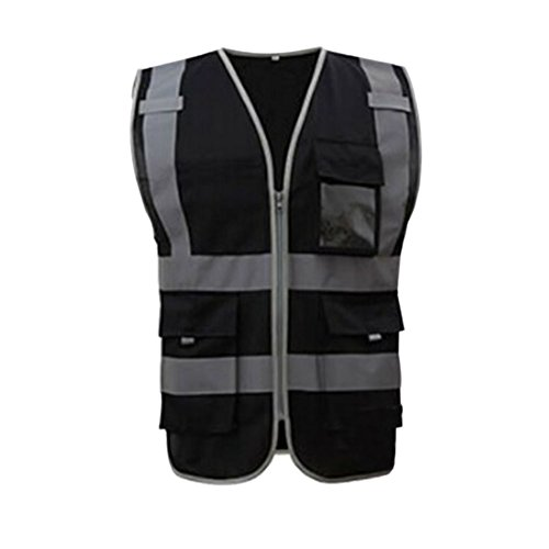 Deylaying High Visibility Reflective Safe Vest Multi Pockets Workwear Security Waistcoat Color Black