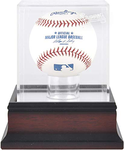 Mounted Memories Atlanta Braves Single Ball Antique Mahogany Acrylic Display Case