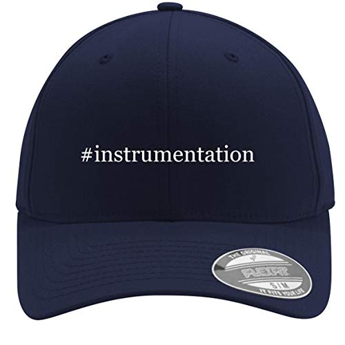 #Instrumentation - Adult Men's Hashtag Flexfit Baseball Hat Cap, Dark Navy, Large/X-Large