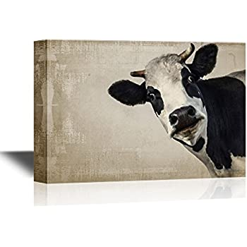 Wall26 Canvas Wall Art A Cow On Vintage Background Gallery Wrap Modern Home Decor Ready To Hang 24x36 Inches