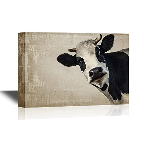 A Cow on Vintage Background Wall Decor