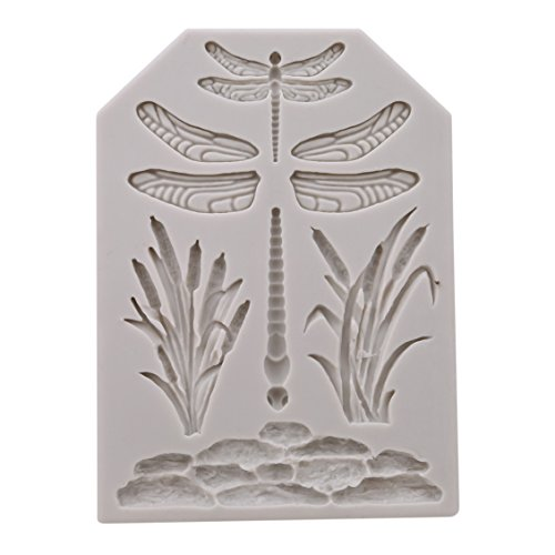 Dolland 3D Dragonfly Square Silicone Molds Cake Molds Decoration Baking Tool DIY Handmade Soap Chocolate Fondant Molds,Grey & white