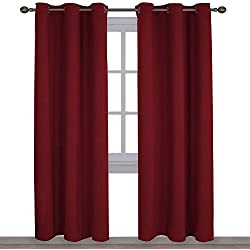 NICETOWN Home Decorations Thermal Insulated Solid Grommet Top Blackout Living Room Curtains/Drapes for Winter (One Pair,42 x 84-Inch,Red)