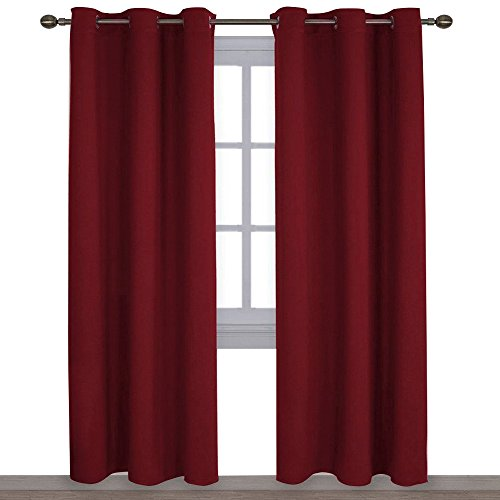NICETOWN Home Decorations Thermal Insulated Solid Grommet Top Blackout Living Room Curtains/Drapes for Winter (One Pair,42 x 84-Inch,Red) (Set Red Room Living)