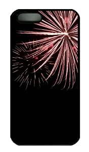 iPhone 5S Case - Customized Unique Design Red Fireworks New Fashion PC Black Hard