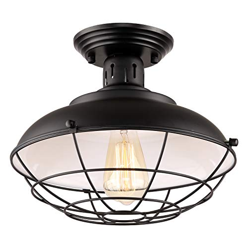 HMVPL Industrial Close to Ceiling Lamp, Metal Cage Flush Mounted Lighting Fixture Dome Shape Edison Light for Kitchen Island Dining Room Foyer Hallway Porch Farmhouse Entryway Bedroom