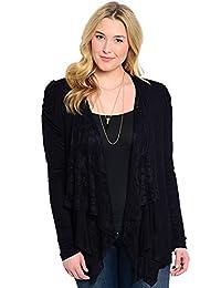 2LUV Women's Lace Open Drape Plus Size Cardigan