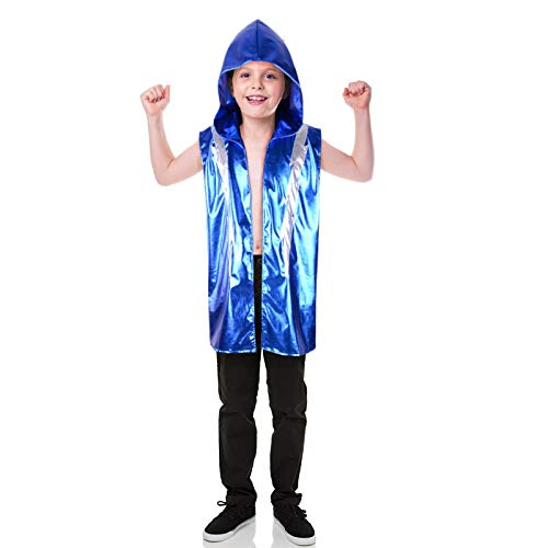 (StarDY Kids Boxing Costume Blue Leather Robe Sleeveless Vest Tank Hoodies Jacket Halloween Cosplay Shiny Boxer Battle Uniform Carnival (Kids,)
