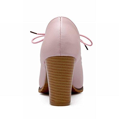 Carol Schoenen Chic Dames Lace-up Zoete Mode Elegantie Stevige Hoge Hak Oxfords Schoenen Roze