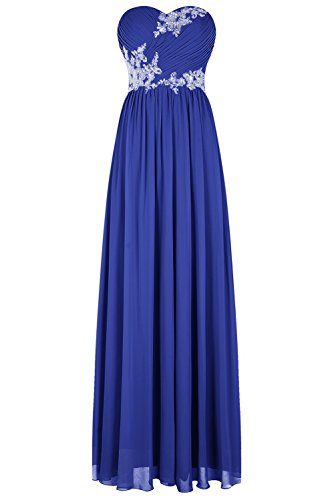 Bbonlinedress Vestido De Fiesta Madrina Boda Noche Largo De Gasa Escote Corazón Zafiro Azul