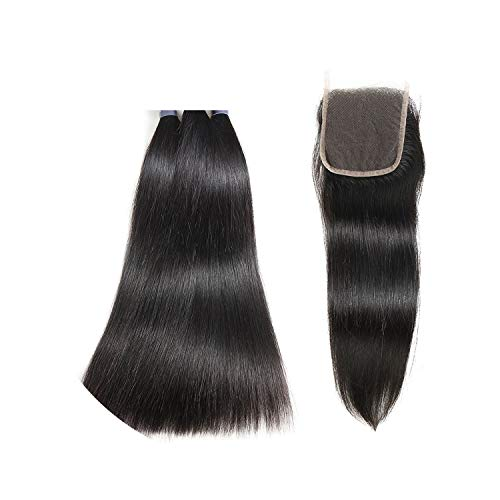 Hair Peruvian Straight Human Hair Bundles With Closure 44 Inch Swiss Lace 100% Unprocessed Remy Human Hair Extensions,12 12 14 & Closure10,Natural Color,Middle Part]()