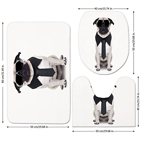 3 Piece Bathroom Mat Set,Pug,Cool Looking Dog Tie and Big Fancy Black Sunglasses Funny Canine Animal Comedy Image Decorative,Black Cream,Bath Mat,Bathroom Carpet Rug,Non-Slip by iPrint
