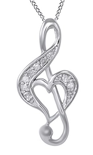 AFFY White Natural Diamond Music Note with Heart Pendant Necklace in 14k White Gold Over Sterling Silver (0.1 Ct)