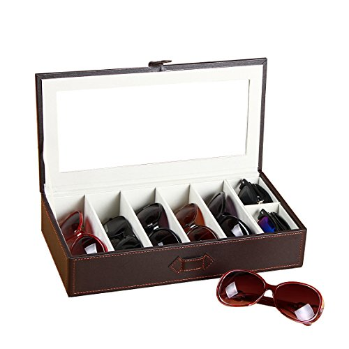 YAPISHI PU Leather Sunglasses Box Organizer, 7 Slots For Eyeglasses Sunglasses and Jewelry Storage Display Case Organizer - Frame Eyeglass Dimensions Size