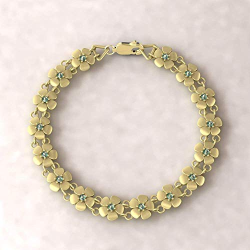 18k Gold Daisy Birthstone Bracelet - Flower Bracelet with Birthstones of Your Choice - LS4571