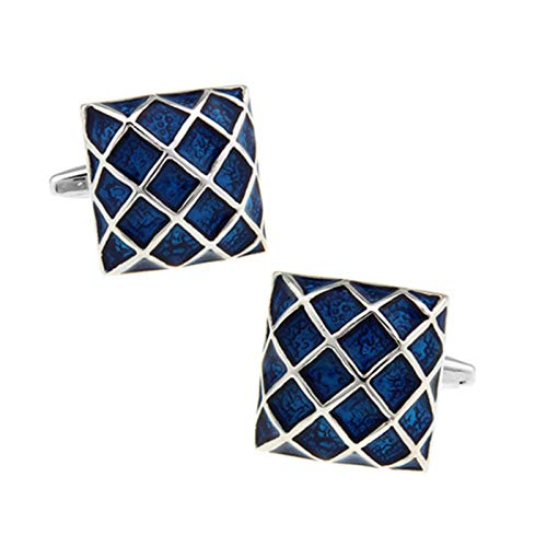 ANAZOZ Cufflink Shirts for Men, Square Grid Blue French Shirt Cuff Links for Groom Wedding Dress