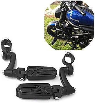 SMT Motorcycle Black Adjustable Highway Peg Mounting Kit Lightning Footrest For Yamaha V-STAR Roadstar Suzuki Boulevard Equipped with 1 inch 25mm Front Engine Guard Frame Tube 1