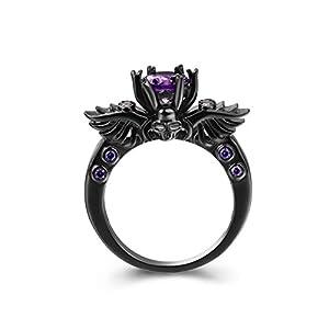 Zealmer Black Gun Gold Plated Round Cut Amethyst Purple CZ Cubic Zirconia Vintage Gothic Skull Ring