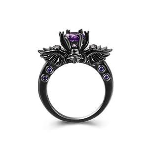 Zealmer Black Gun Gold Plated Round Cut Amethyst Purple CZ Cubic Zirconia Vintage Gothic Skull Ring 6