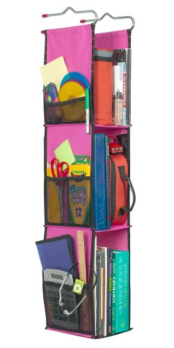 LockerWorks 3 Shelf Hanging Locker Organizer, 22-38 Inches Tall, Side Pockets, Suspends from Hooks, Shelf, or Closet Rod - Fuchsia/Black