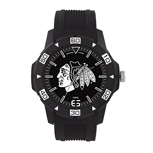 (NHL Chicago Blackhawks Mens Automatic Series Wrist Watch, Black, One Size)