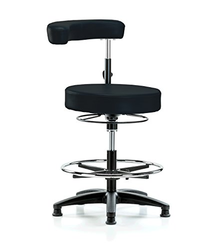 PERCH Dental Stool Adjustable Height with Procedure Arm and Foot Ring, Stationary Caps, Workbench Height (Black Fabric) by Perch Chairs & Stools (Image #8)