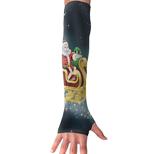 Huadduo Santa With Reindeer In Sledge Flying Women's Super Long Fingerless Anti-uv Sun Protection Golf Driving Sports Arm Sun Sleeves Gloves