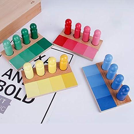 B Blesiya Juguete Montessori de Paneles y Cilindros de Colores Juego para Desarrollo de Sensibilidad Visual de Niños: Amazon.es: Amazon.es