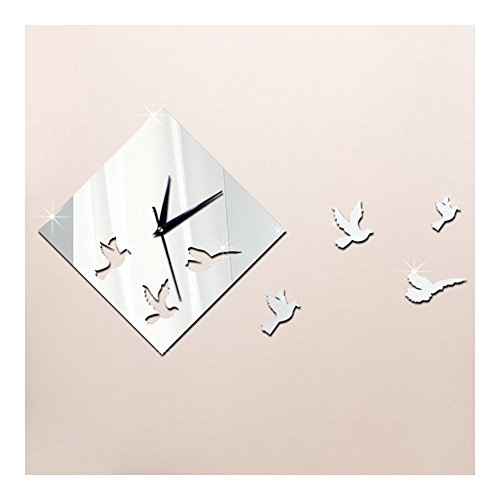 Wall Clock Mirror Living Room Angle Star Silent silver - 1