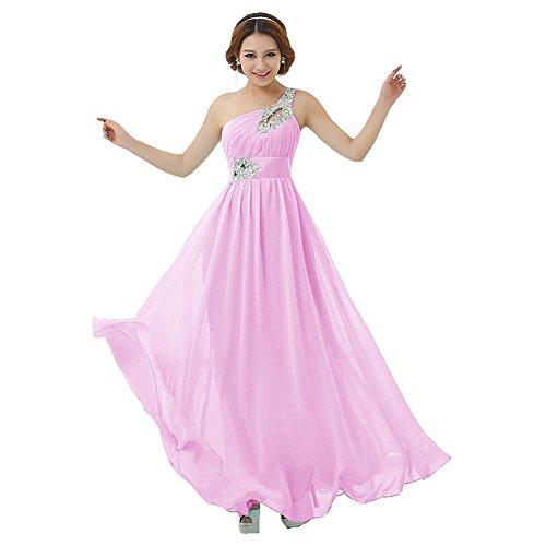 One Lang Shoulder Abendkleid Damen Kleid Hellrosa Brautjungfer Chiffon drasawee Party Ball axHZw